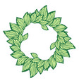 circle wreath with leaves made in graphic style vector image vector image