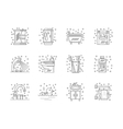 Collection of flat line bathroom icons vector image