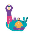couple doing yoga exercise and meditating in park vector image
