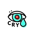 Crying hipster eye logo template in stroke vector image vector image