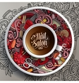 Cup of coffee Nail salon doodles on a saucer vector image