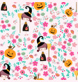 cute witch girl in flower seamless pattern cartoon vector image vector image