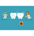 Dentist take dental floss vector image vector image