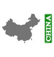 dotted map of china and grunge rectangle rounded vector image