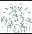 earth day greeting card with hands raised to vector image vector image