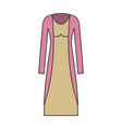 female clothes with long dress and coat in vector image