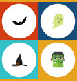 flat icon halloween phantom witch cap vector image vector image