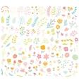 Floral hand drawn vintage set vector image vector image