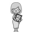 grayscale teacher with glasses and diploma vector image vector image