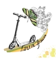hand drawn Kick scooter butterfly and flowers vector image vector image