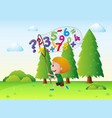 little boy catching numbers in the park vector image vector image