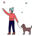 man with pet walking in winter park snowy weather vector image vector image