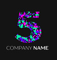 number four with pink purple green particles vector image vector image