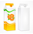 orange juice package vector image vector image