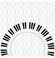 piano keyboard on note backgorund vector image