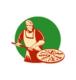 Pizza pie maker or baker holding baking pan vector image vector image