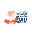 postcard template with smiling father and little vector image vector image