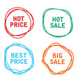 price tags sale offer labels vector image