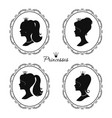 princesses profile set beautiful female vector image vector image