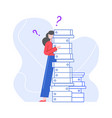 puzzled and pensive woman with stack folders vector image