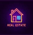 real estate neon label vector image vector image