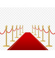 realistic detailed 3d red carpet and barrier rope vector image vector image