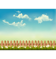 Retro background with a fence grass sky and vector image vector image