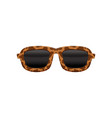 retro sunglasses with black lenses and frame with vector image