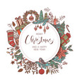 round merry christmas and happy new year banner vector image vector image
