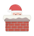 santa in chimney decoration merry christmas vector image vector image