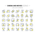 set flat line icons cinema and movies vector image vector image
