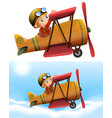 set of pilot riding classic plane vector image vector image