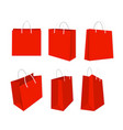 set of red shopping bags vector image vector image