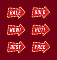 set red promotional arrow sign retro style vector image vector image
