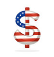 sign dollar in flag colors one vertical line vector image