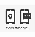 social media icon set with smart phones vector image