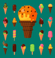 sweet cartoon cold ice cream set and tasty frozen vector image vector image