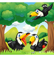 Three black birds at the forest vector image vector image