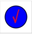 Tick red sign in blue circle vector image vector image