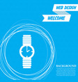 watch icon on a blue background with abstract vector image