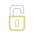 yellow line security open padlock object vector image vector image
