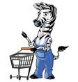 Zebra Mascot Shopping vector image vector image