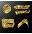 Set of golden glitter spots with halftone effect vector image