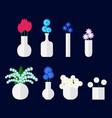 set of bouqet of flower in vase vector image