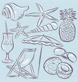 set of summer symbols clams shells cocktail vector image