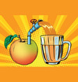 apple juice is poured into a mug vector image vector image