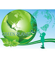 background - a girl and a green planet vector image vector image