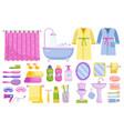 bathroom accessories set isolated home bathroom vector image vector image