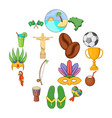 brazil travel icons set cartoon style vector image vector image