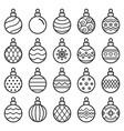 christmas balls line icons vector image
